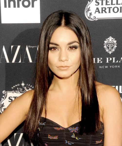 Vanessa Hudgens Long Straight Casual    Hairstyle   - Dark Mocha Brunette Hair Color