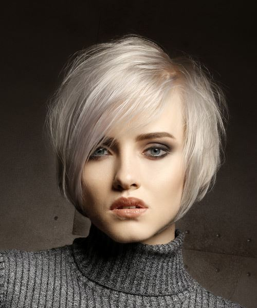 Short Straight   Light Platinum Blonde Shag  Hairstyle with Side Swept Bangs