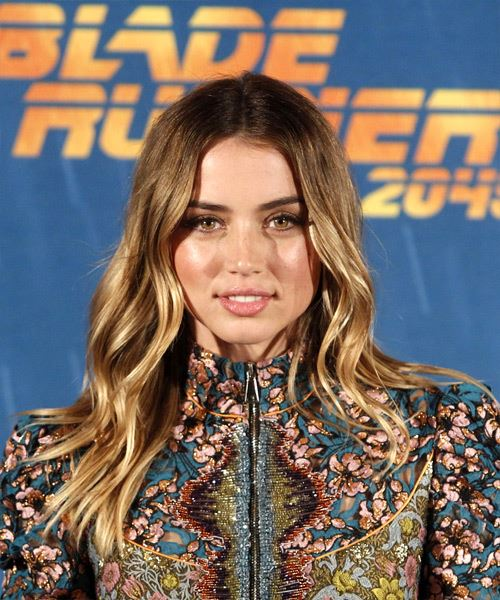 Ana De Armas Long Wavy Casual    Hairstyle   - Dark Honey Blonde Hair Color