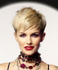 Short Straight Casual  Pixie  Hairstyle with Razor Cut Bangs  - Light Blonde Hair Color