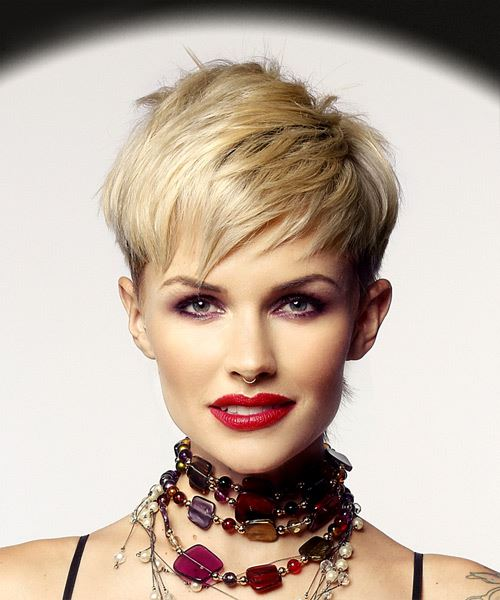Light Blonde Pixie  Cut with Razor Cut Bangs