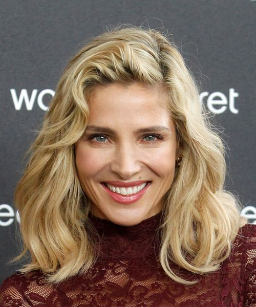 Elsa Pataky Medium Wavy Casual Bob  Hairstyle with Side Swept Bangs  - Light Blonde