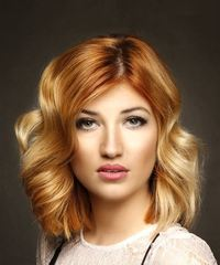 Medium Wavy Casual  Bob  Hairstyle   - Light Red and Light Blonde Two-Tone Hair Color