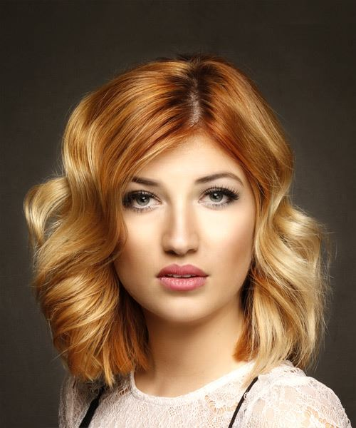 Medium Wavy Casual Bob  Hairstyle   - Light Red