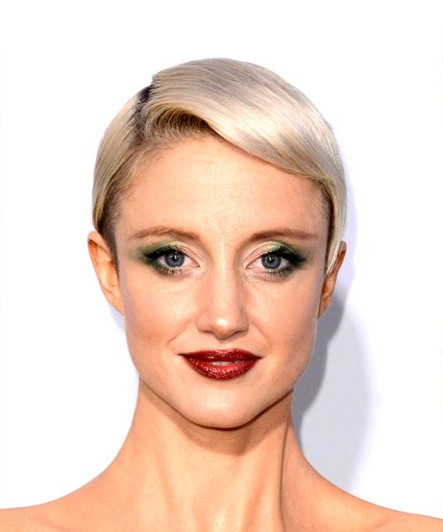 Andrea Riseborough Short Straight Casual Pixie  Hairstyle with Side Swept Bangs  - Light Blonde