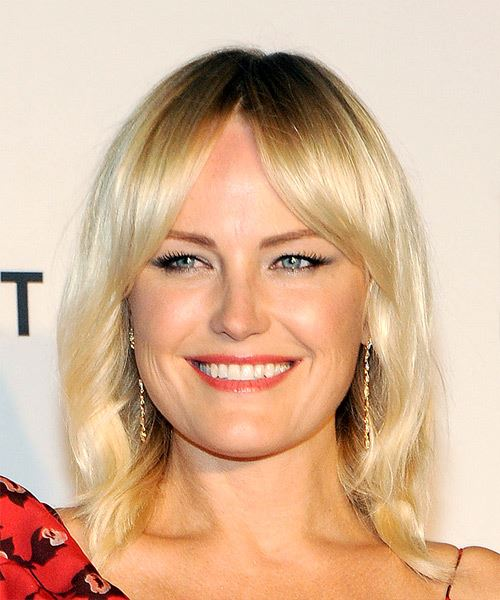 Malin Akerman Medium Straight Casual   Hairstyle with Layered Bangs  - Light Blonde
