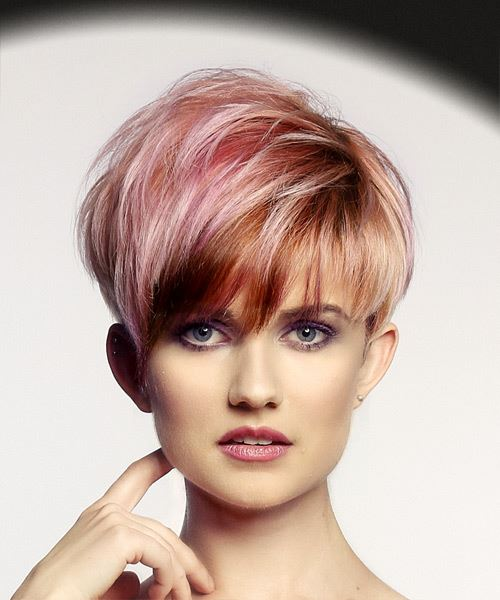Pink  Pixie  Cut with Layered Bangs  and  Red Highlights