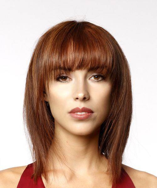 Medium Straight Formal Bob Hairstyle With Layered Bangs   Red Hair Color