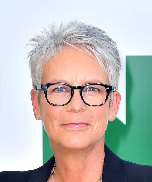 Jamie Lee Curtis Light Grey Pixie Haircut with Layered Bangs