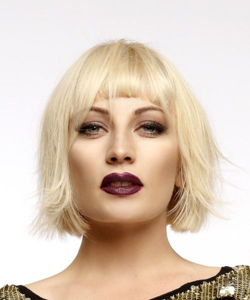 Short Straight Casual Bob  Hairstyle with Blunt Cut Bangs  - Light Blonde