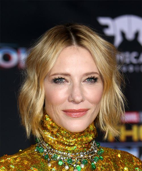 Cate Blanchett Short Wavy Casual Bob  Hairstyle   - Light Blonde