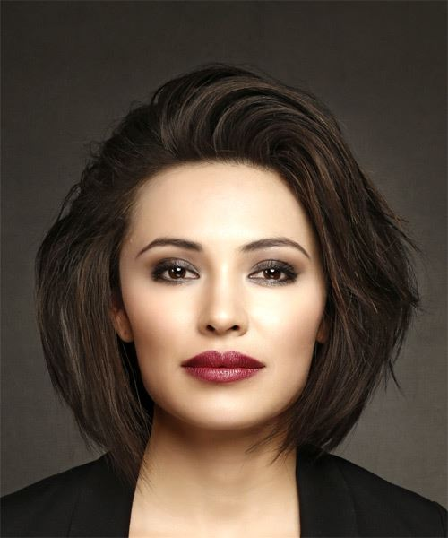 Medium Straight Casual  Bob  Hairstyle   - Dark Brunette Hair Color
