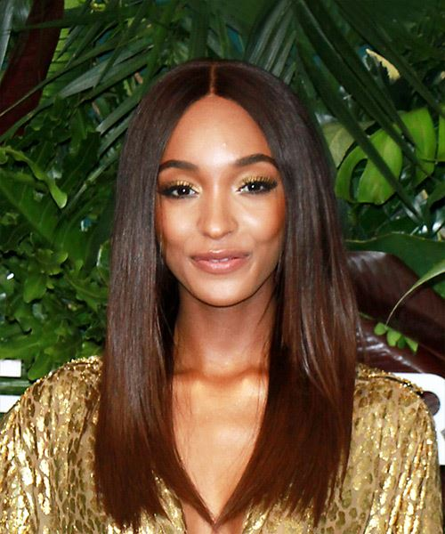 Jourdan Dunn Long Straight Formal   Hairstyle   - Medium Brunette