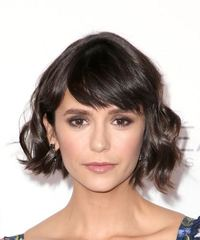 Nina Dobrev Short Wavy Casual  Bob  Hairstyle with Side Swept Bangs  - Dark Brunette Hair Color