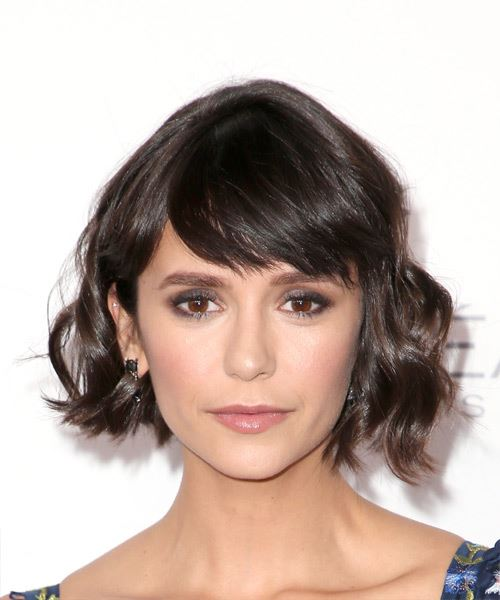 Nina Dobrev Short Wavy Casual Bob  Hairstyle with Side Swept Bangs  - Dark Brunette