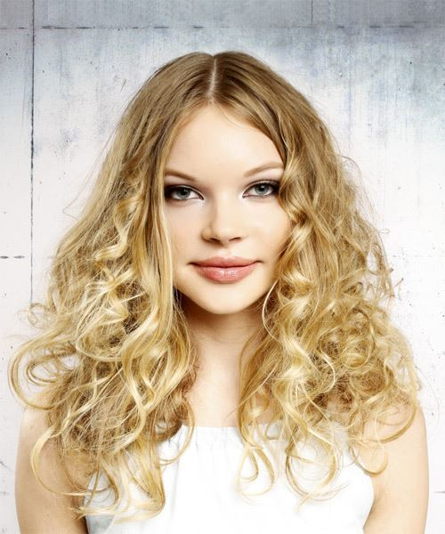 Long Curly Casual    Hairstyle   -  Golden Blonde Hair Color