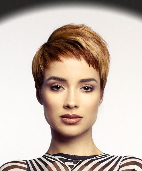 Short Straight Casual Pixie  Hairstyle with Asymmetrical Bangs  - Medium Red