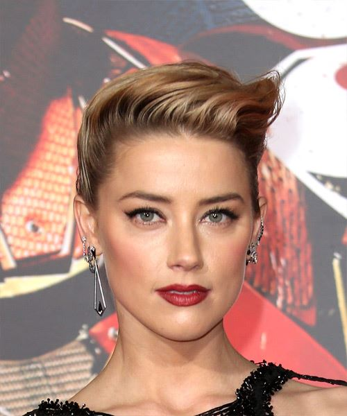Amber Heard Long Wavy Formal   Updo Hairstyle   - Medium Blonde Hair Color