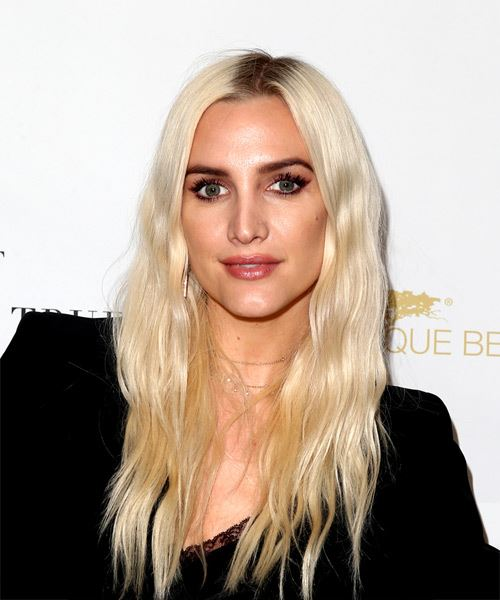 Ashlee Simpson Long Wavy Casual    Hairstyle   - Light Blonde Hair Color
