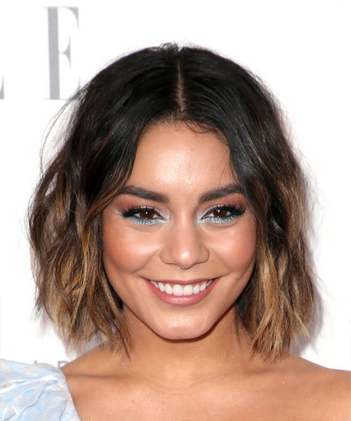 Vanessa Hudgens Short Wavy Casual Bob  Hairstyle   - Medium Brunette