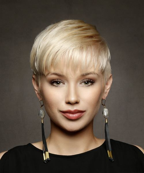 Short Straight Casual Pixie  Hairstyle with Layered Bangs  - Light Blonde