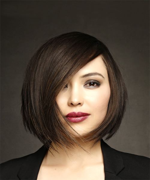Short Straight Formal Bob Hairstyle with Side Swept Bangs - Dark Brunette