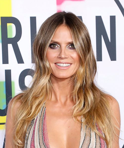 Heidi Klum Long Wavy Casual    Hairstyle   - Medium Blonde Hair Color