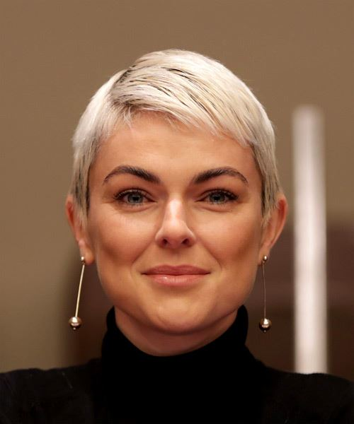 Serinda Swan Short Straight Casual  Pixie  Hairstyle with Layered Bangs  - Light Platinum Blonde Hair Color
