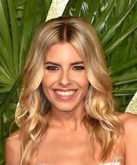 Mollie King Medium Wavy Casual  Bob  Hairstyle   -  Blonde Hair Color