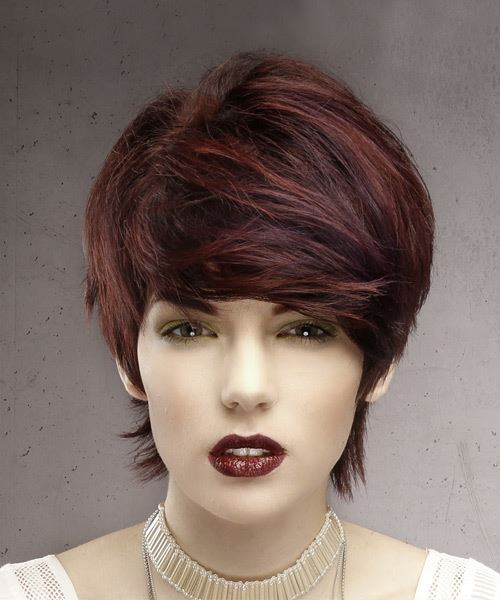 Short Straight Formal  Pixie  Hairstyle with Side Swept Bangs  - Dark Red Hair Color
