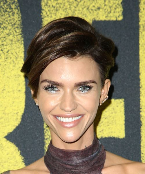 Ruby Rose     Dark Brunette Pixie  Cut with Side Swept Bangs