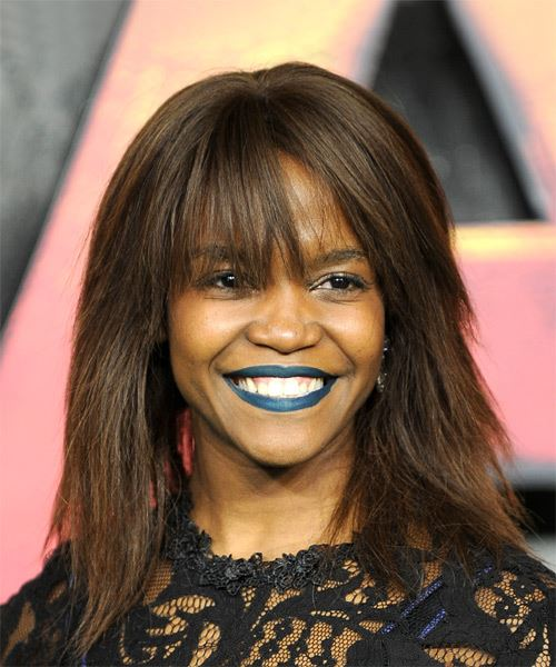 Oti Mabuse Medium Straight Casual   Hairstyle with Blunt Cut Bangs  - Medium Brunette
