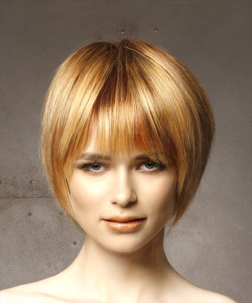 Short Straight Casual Bob  Hairstyle with Layered Bangs  - Light Red