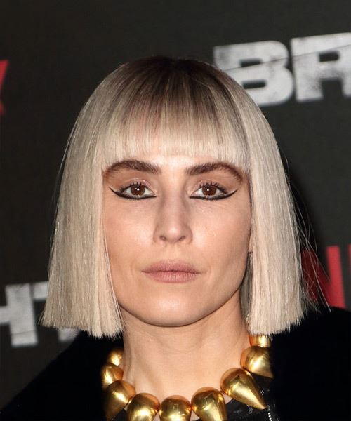 Noomi Rapace Short Straight Formal Bob  Hairstyle with Blunt Cut Bangs  - Light Blonde