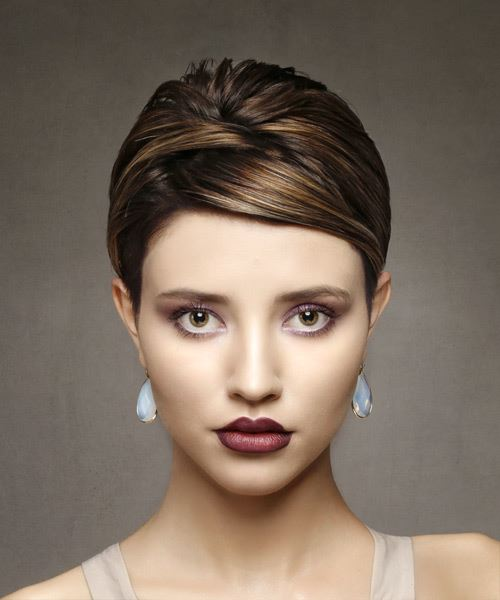 Brunette Pixie  Cut with Side Swept Bangs