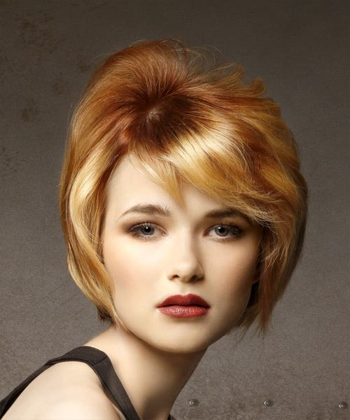 Short Straight Casual    Hairstyle with Side Swept Bangs  - Light Red and  Blonde Two-Tone Hair Color