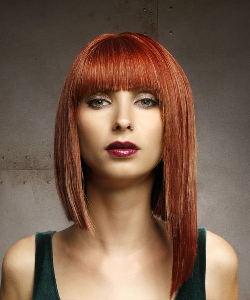 Medium Straight Formal  Asymmetrical  Hairstyle with Blunt Cut Bangs  - Medium Red Hair Color