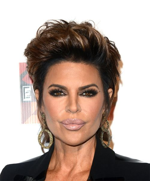 Lisa Rinna Short Straight Casual    Hairstyle   - Dark Brunette Hair Color with Light Brunette Highlights