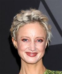 Andrea Riseborough Short Curly Casual  Pixie  Hairstyle   - Light Blonde Hair Color