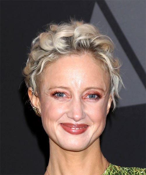 Andrea Riseborough Short Curly Casual Pixie  Hairstyle   - Light Blonde