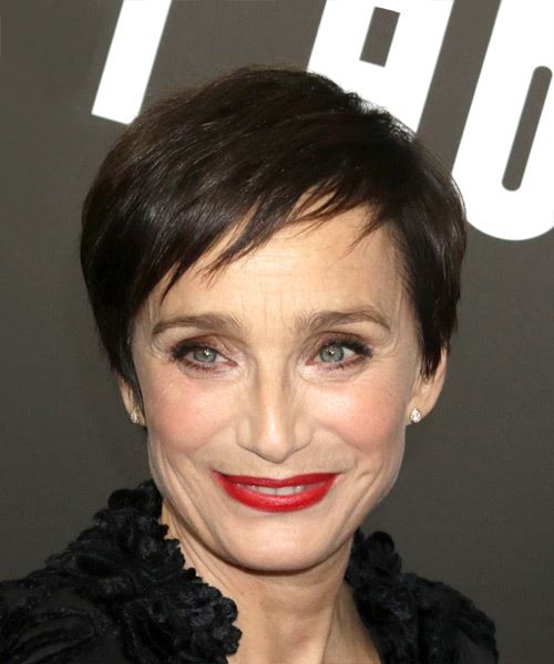 Kristin Scott Thomas Short Straight Casual Pixie  Hairstyle with Razor Cut Bangs  - Dark Brunette