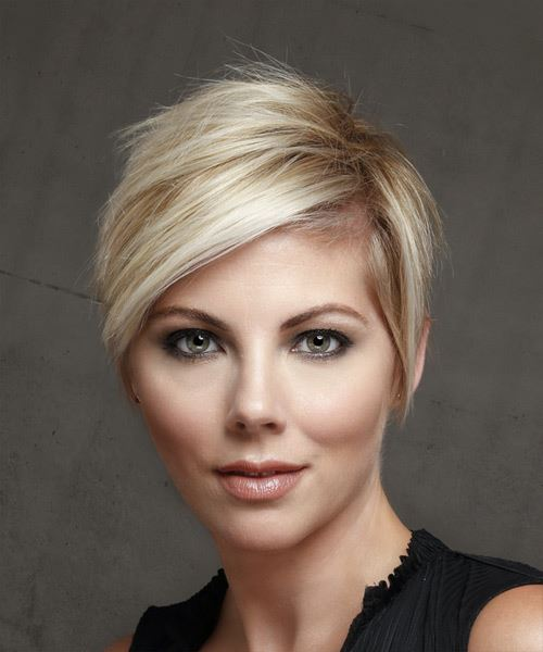 Short Straight Casual  Pixie  Hairstyle with Side Swept Bangs  - Light Blonde Hair Color