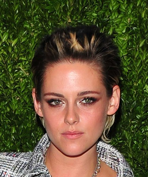 Kristen Stewart Short Straight   Dark Brunette and Light Blonde Two-Tone   Hairstyle