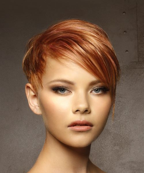 Short Straight Casual  Pixie  Hairstyle with Side Swept Bangs  - Medium Red Hair Color with Light Blonde Highlights