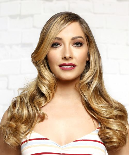 Long Wavy Casual   Hairstyle with Side Swept Bangs  - Medium Blonde