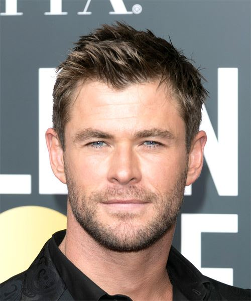 Chris Hemsworth Short Straight Brunette Hairstyle