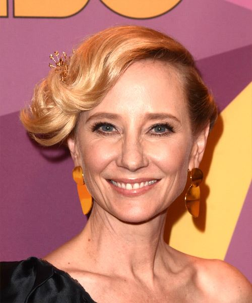 Anne Heche Medium Wavy Casual  Updo Hairstyle with Side Swept Bangs  - Light Blonde