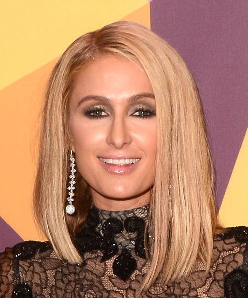 Paris Hilton Medium Straight Formal Bob  Hairstyle   - Light Blonde