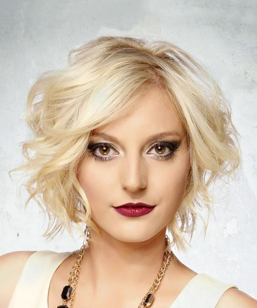 Short Wavy Formal Bob Hairstyle Light Blonde Hair Color
