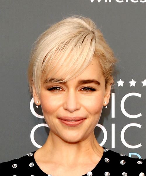 Emilia Clarke Short Straight Casual    Hairstyle with Side Swept Bangs  - Light Platinum Blonde Hair Color